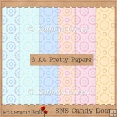 SNS - 6 Sweet A4 Candy Coloured Dotty Papers