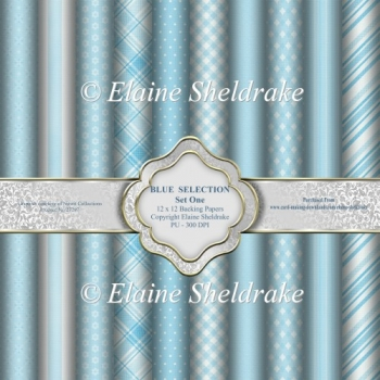Blue Selection Set One - Ten 12 x 12 Backing Papers - PU 300 d