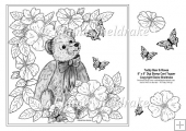 "Teddy Bear In The Roses 8"" x 8"" Digi Stamp With Decoupage"