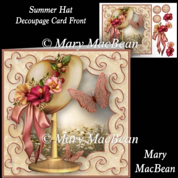 Summer Hat - Decoupage Card Front