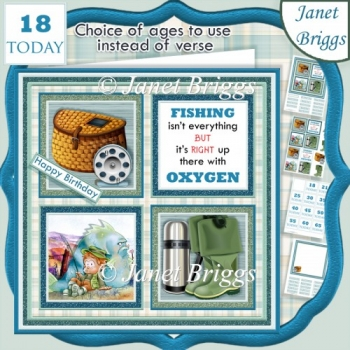 FISHING 7.5 Quick Card Verse or Ages Decoupage & Insert Kit
