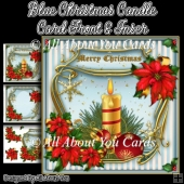 Blue Christmas Candle Card Front & Insert