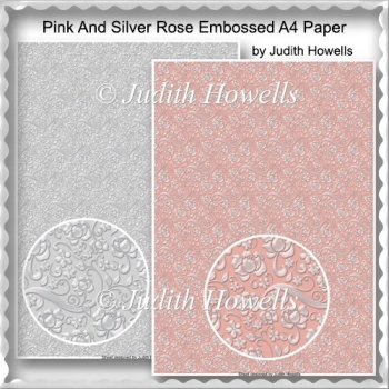 Pink And Silver Rose Embossed A4 Paper