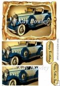 Blue Vintage Car in old scroll frame pyramids