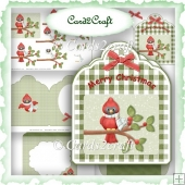Tag red cardinal Christmas card set