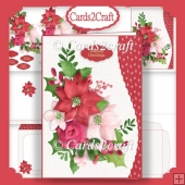 Wavy Edge Christmas flowers card set