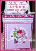 Shabby Roses Sewing Kleenex Tissue Box Cover with Directions