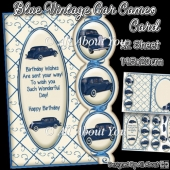 Blue Vintage Car Cameo Card
