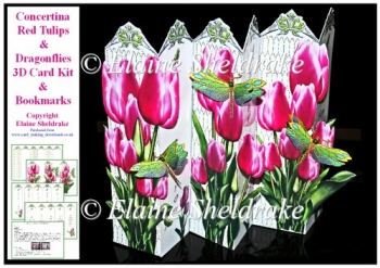 Concertina Red Tulips Dragonflies Over the Edge 3D Card Kit