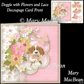 Doggie with Flowers and Lace Decoupage Card Front