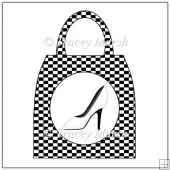 Black and White Check Shoe Handbag Pillow Card Set