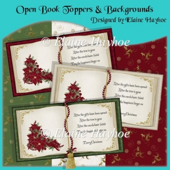 Open Book Christmas Toppers with Backgrounds