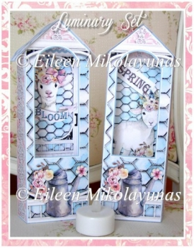 Spring Lamb Luminary Set for Battery Votive Candles