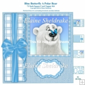 Polar Bear & Butterfly 7.5 Inch Square Card Kit Birthday/Xmas
