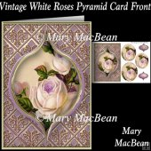 Vintage White Roses Pyramid Card Front