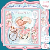 GIRL ON BIKE 7.5 Decoupage & Optional Ages Card Kit