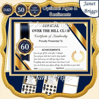 OVER THE HILL Humorous A5 Certificate Ages & Insert Card Kit