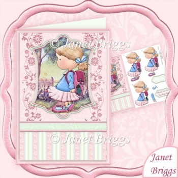 Little Schoolgirl Thank You Teacher Topper & Decoupage Sheet