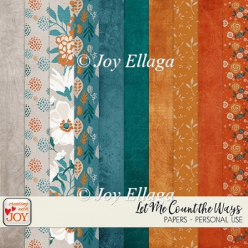"12x12"" Floral Vintage Effect Background Papers"