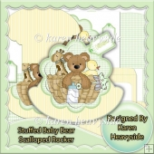 Stuffed Baby Bear In Basket Scalloped Rocker Card