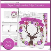 Purple Stag Rounded Edge Invitation