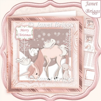 UNICORN & RABBITS 7.5 Christmas Decoupage & Insert Kit