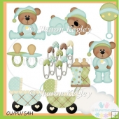 Sweet Dream Boy Bears 2 Clip Art