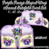 Purple Pansys Shaped Wrap Around Gatefold Card