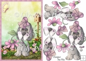 Flower Puppy Dog Card Front & Decoupage
