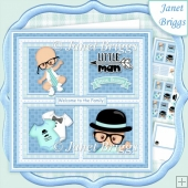 BABY BOY LITTLE MAN SQUARES 7.5 Quick Square Layers Card Kit