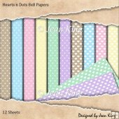 Hearts n Dots 8x8 Papers