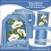 Happy Birthday Buds N Blooms Pop Out Banner Card