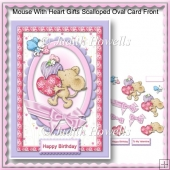 Mouse With Heart Gifts Scalloped Oval Card Front