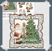 Santa and his tree card with decoupage
