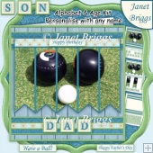 LAWN BOWLS 7.5 Alphabet and Age Quick Card Kit Create Any Name