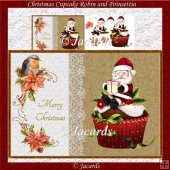 Christmas Cupcake Robin And Poinsettia