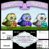 Easter Owls, Shaped Cut And Fold Card Kit With Decoupage Ect.