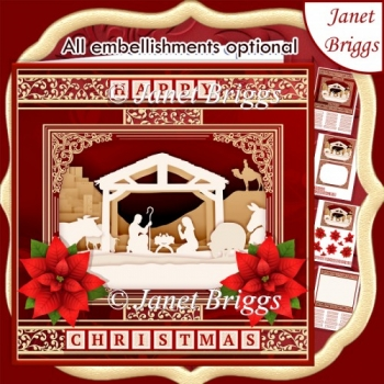 NATIVITY SILHOUETTE RED 7.8 Quick Layer Card or Decoupage Kit