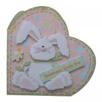 Bunny Greetings Afoot! Decoupage Heart Shaped Fold Card Kit 1
