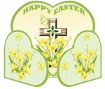 Easter Cross Green Heart Gatefold Card
