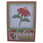 Red Patchwork Daisy Decoupage 5x7 Fold Card Kit 1