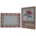 Red Patchwork Daisy Decoupage 5x7 Fold Card Kit 4