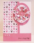 Paper Shapers Flowers - Pink Hearts Card