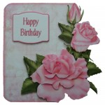 Pink Roses Decoupage Shaped Fold Card Kit 1