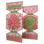 Poinsettia Decoupage Tri Fold Cracker Card Kit 1