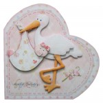 Special Delivery Baby Girl Heart Shaped Fold Card Kit 1