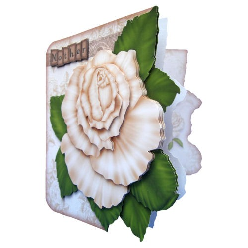 Antique Cream Rose Shaped Fold Card - mother version view 2