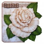 Antique Cream Rose Shaped Fold Card - mother version