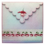 Elegant Fuchsias Square Scalloped Easel Card - envelope back