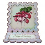 Elegant Fuchsias Square Scalloped Easel Card - view 1